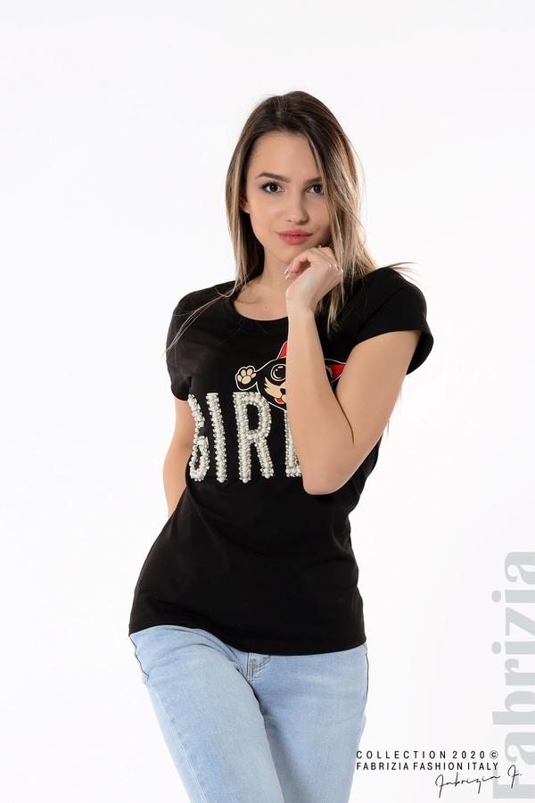 Блуза с надпис Girl черен 1 fabrizia