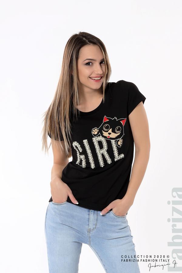 Блуза с надпис Girl черен 4 fabrizia