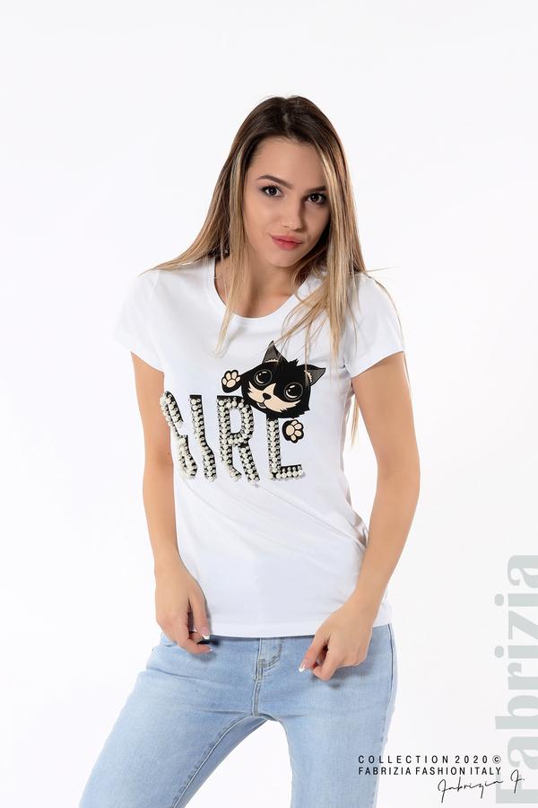 Блуза с надпис Girl бял 1 fabrizia