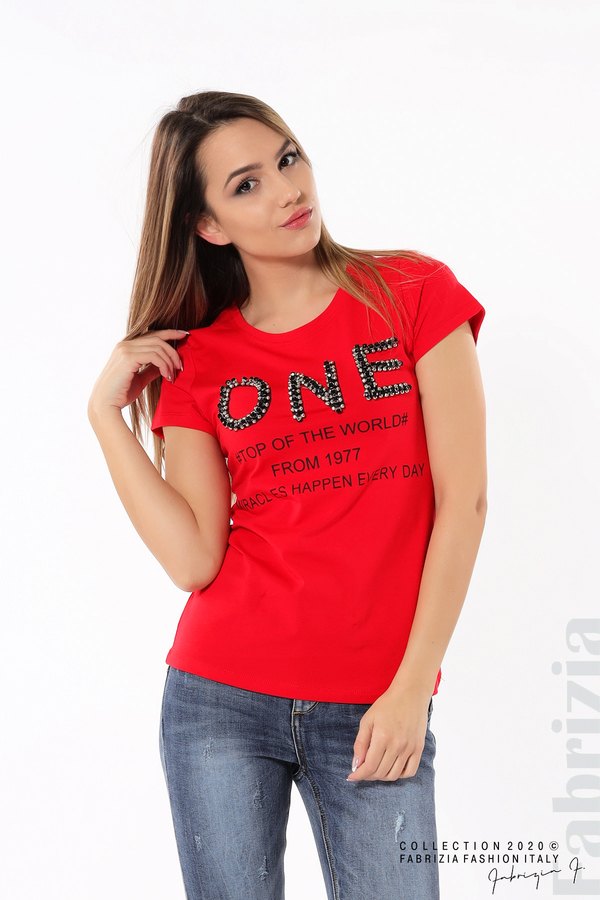 Дамска блуза с надпис One червен 3 fabrizia