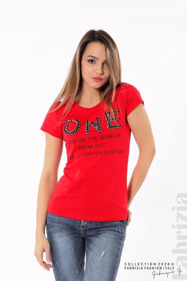 Дамска блуза с надпис One червен 2 fabrizia