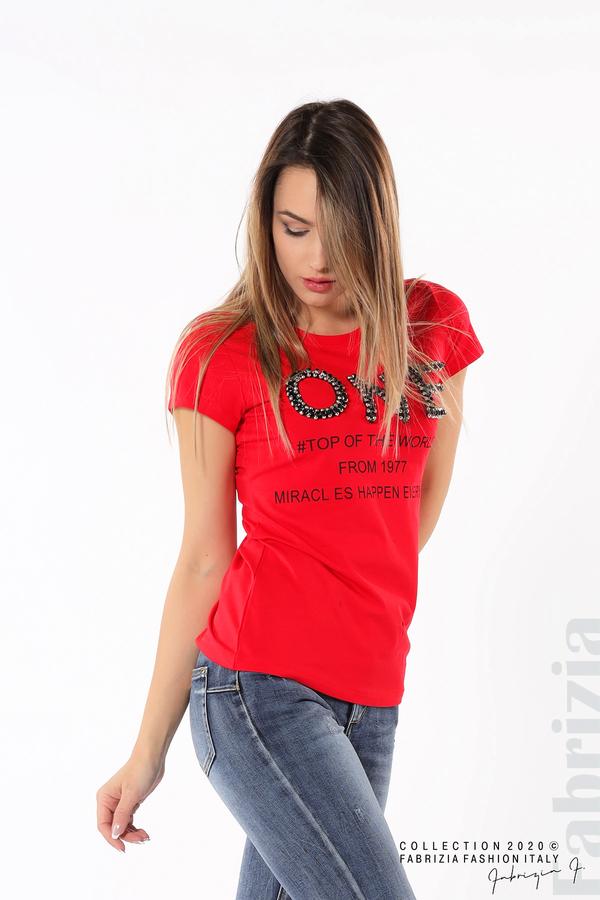 Дамска блуза с надпис One червен 1 fabrizia