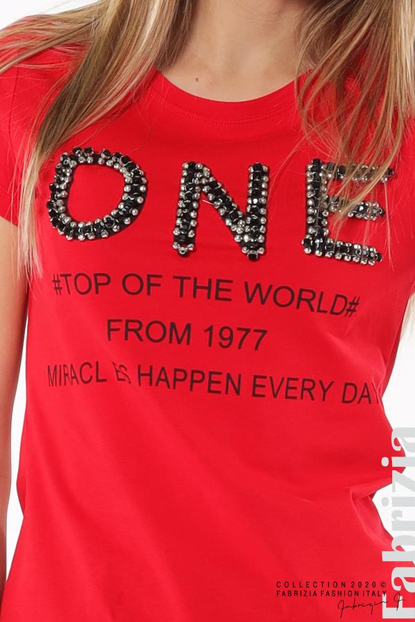 Дамска блуза с надпис One червен 4 fabrizia