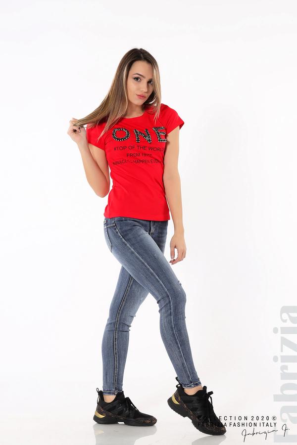 Дамска блуза с надпис One червен 5 fabrizia
