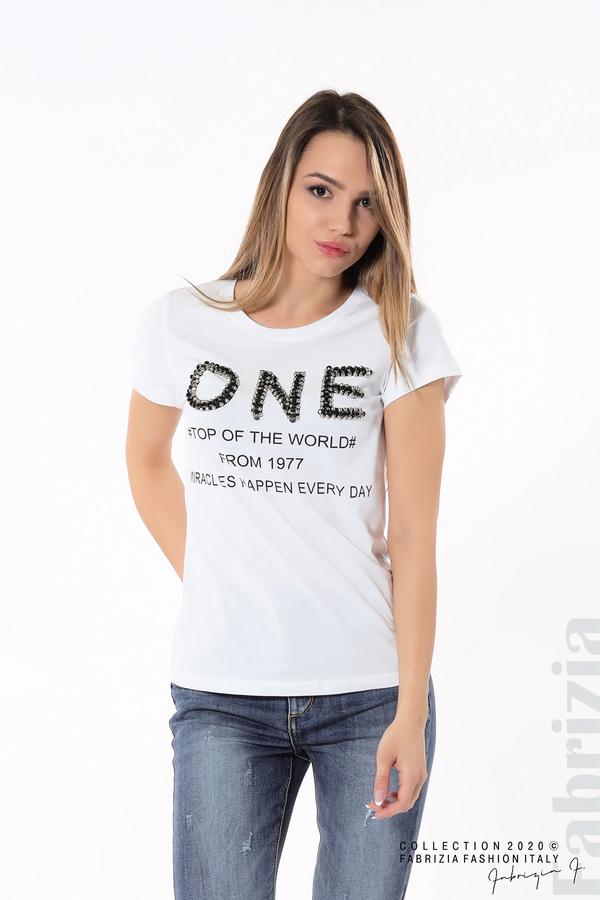Дамска блуза с надпис One бял 1 fabrizia