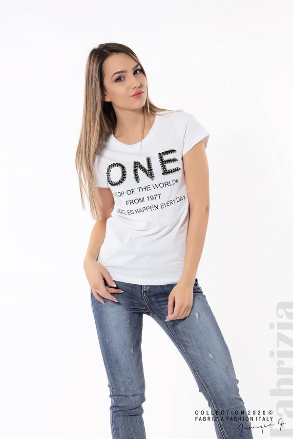 Дамска блуза с надпис One бял 2 fabrizia
