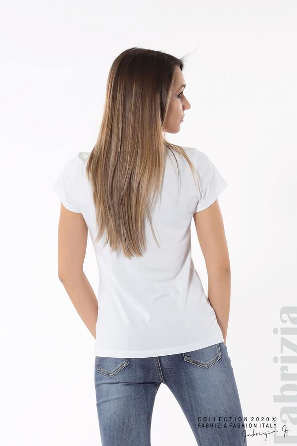 Дамска блуза с надпис One бял 6 fabrizia