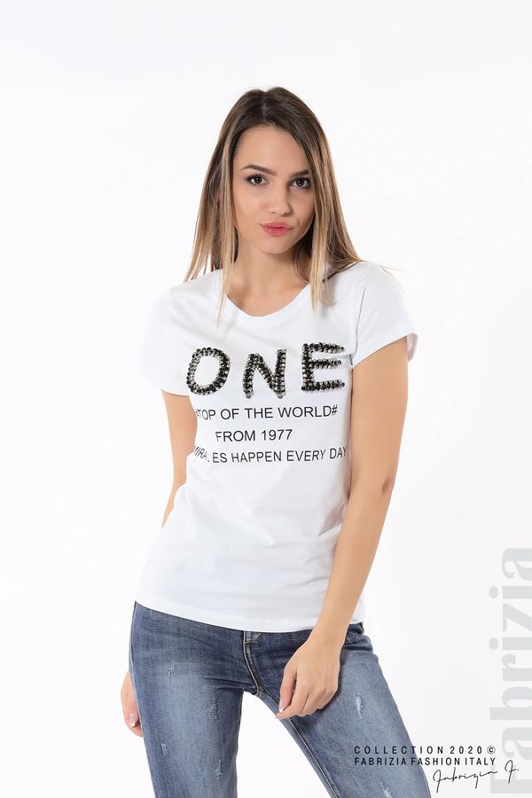 Дамска блуза с надпис One бял 5 fabrizia