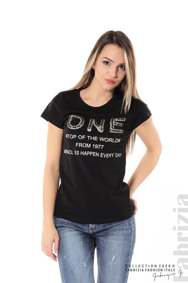 Дамска блуза с надпис One черен 4 fabrizia