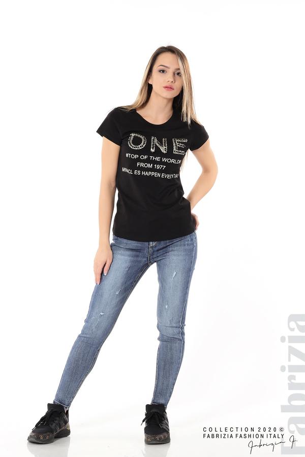Дамска блуза с надпис One черен 5 fabrizia