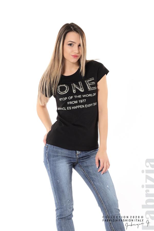 Дамска блуза с надпис One черен 2 fabrizia