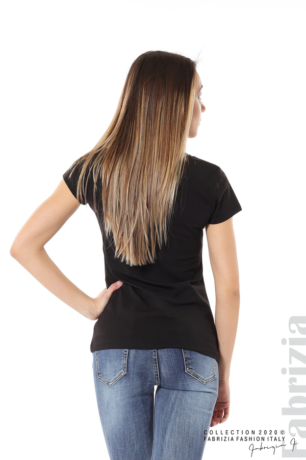 Дамска блуза с надпис One черен 6 fabrizia