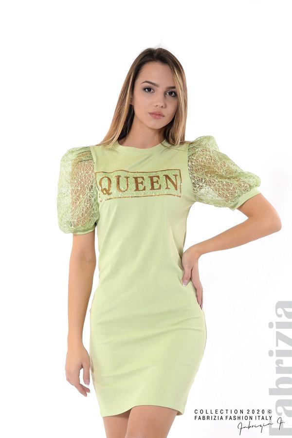 Рокля с надпис Queen и буфан ръкави бл.зелен 1 fabrizia