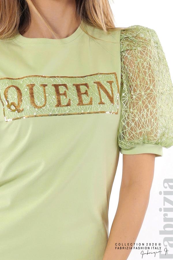 Рокля с надпис Queen и буфан ръкави бл.зелен 3 fabrizia
