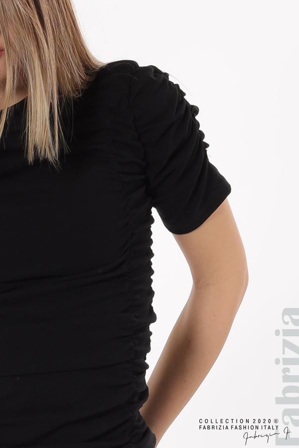 Блуза с ефектни набори черен 4 fabrizia