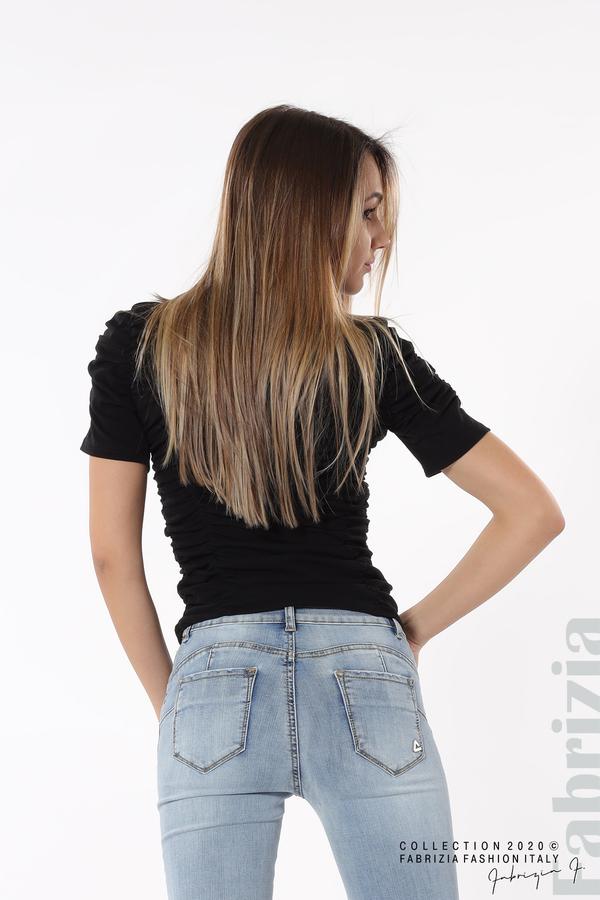 Блуза с ефектни набори черен 6 fabrizia