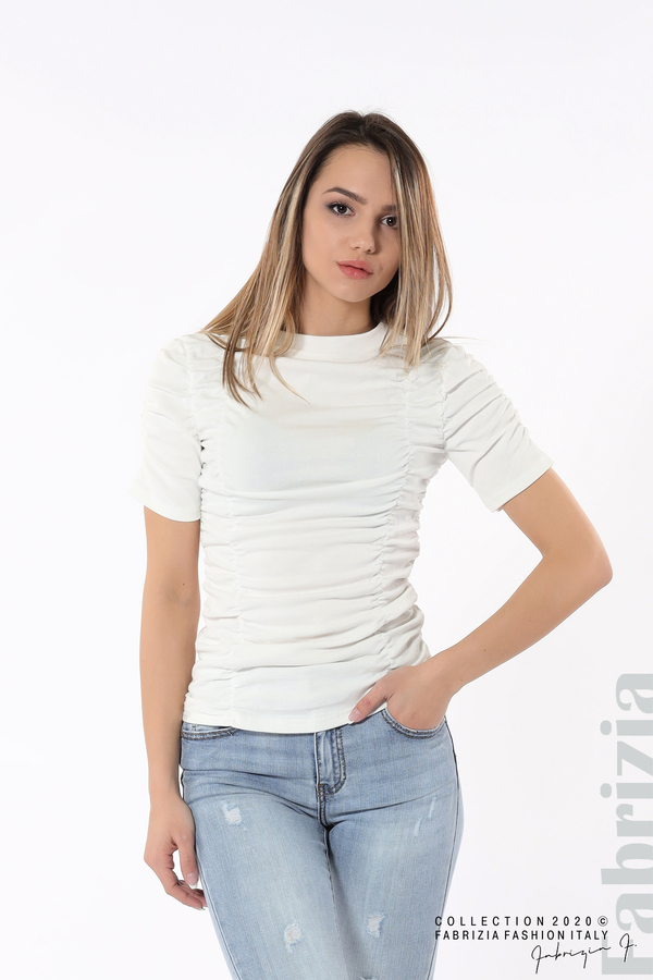 Блуза с ефектни набори бял 2 fabrizia