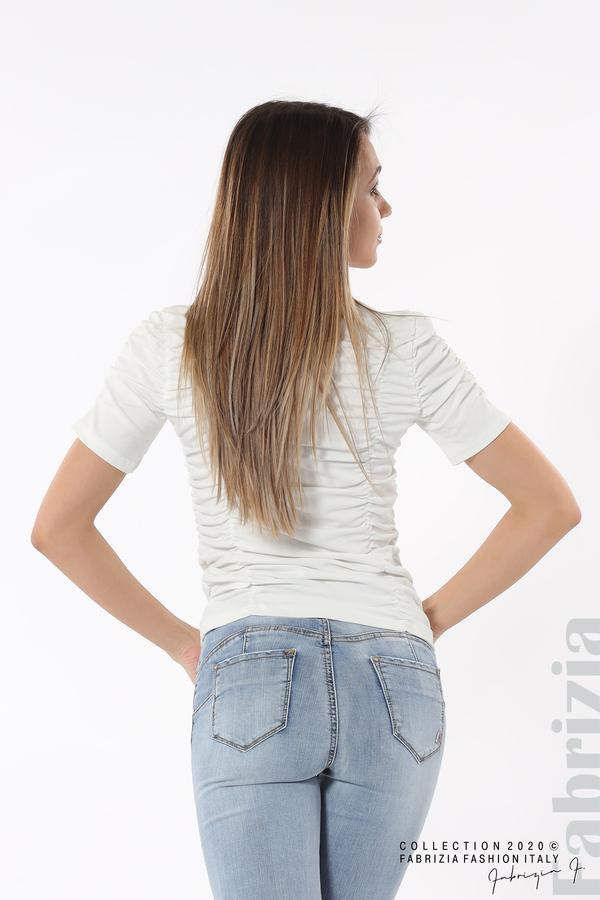 Блуза с ефектни набори бял 6 fabrizia