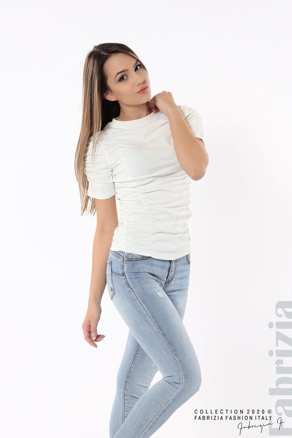 Блуза с ефектни набори бял 3 fabrizia