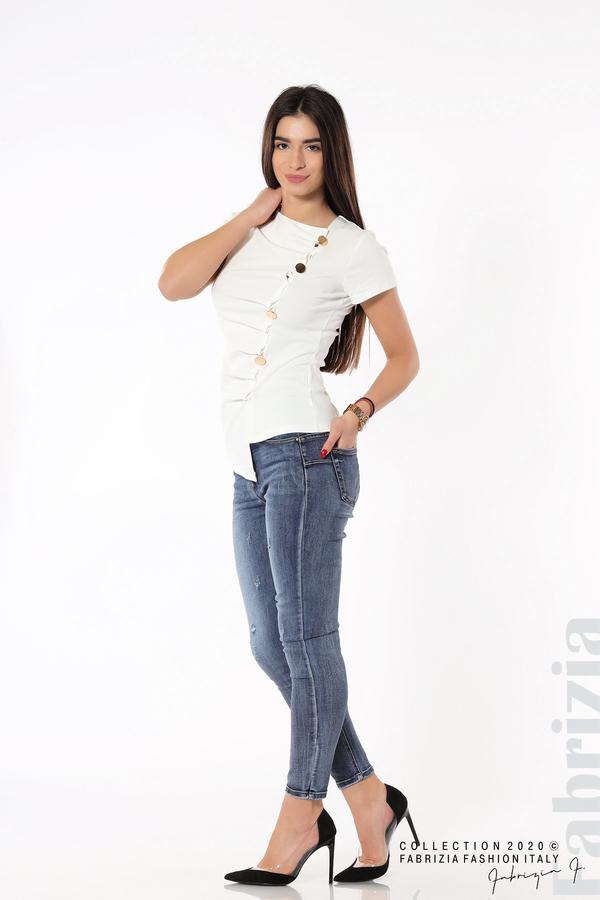 Асиметрична блуза с копчета бял 4 fabrizia