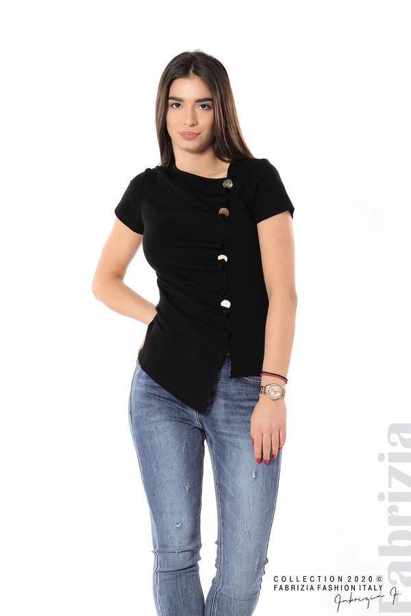 Асиметрична блуза с копчета черен 2 fabrizia
