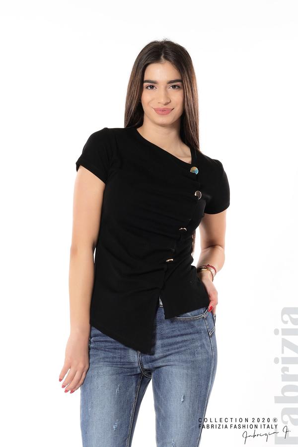 Асиметрична блуза с копчета черен 3 fabrizia