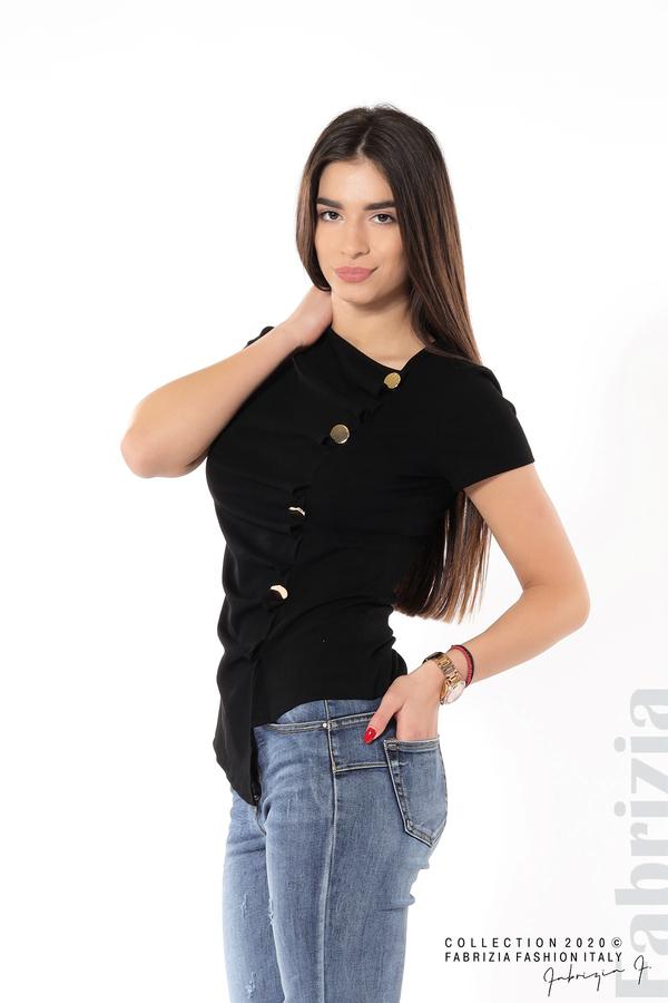 Асиметрична блуза с копчета черен 4 fabrizia