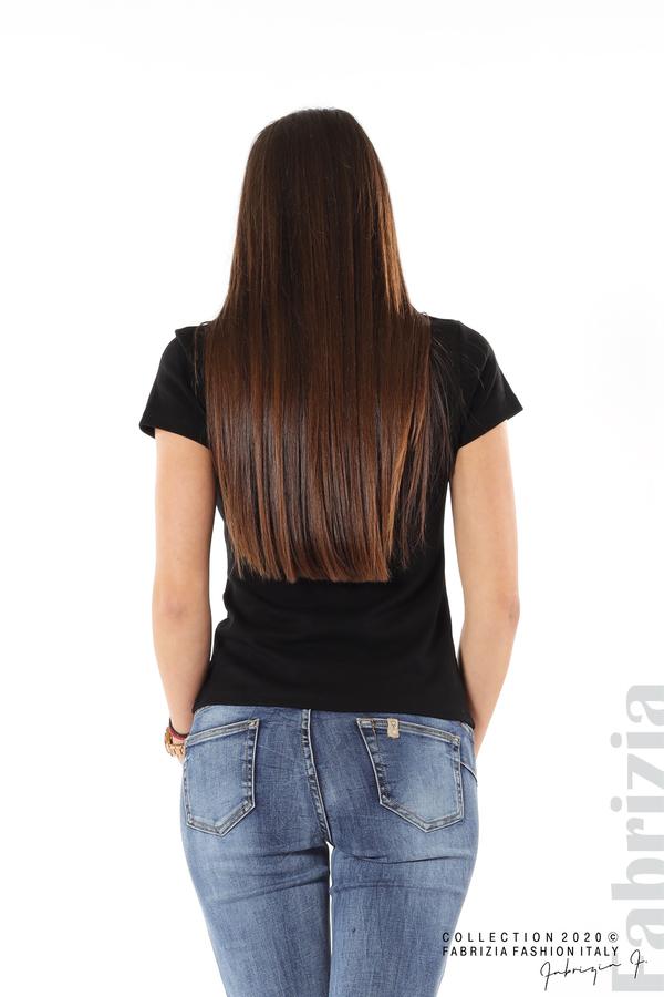 Асиметрична блуза с копчета черен 5 fabrizia