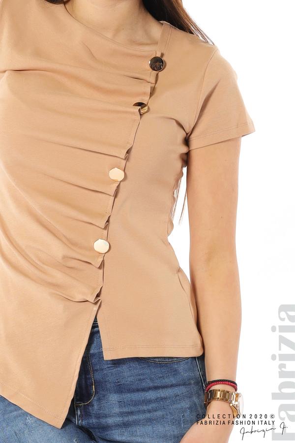 Асиметрична блуза с копчета св.кафяв 3 fabrizia