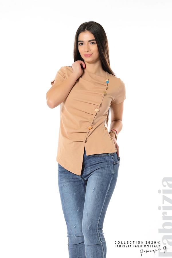 Асиметрична блуза с копчета св.кафяв 4 fabrizia