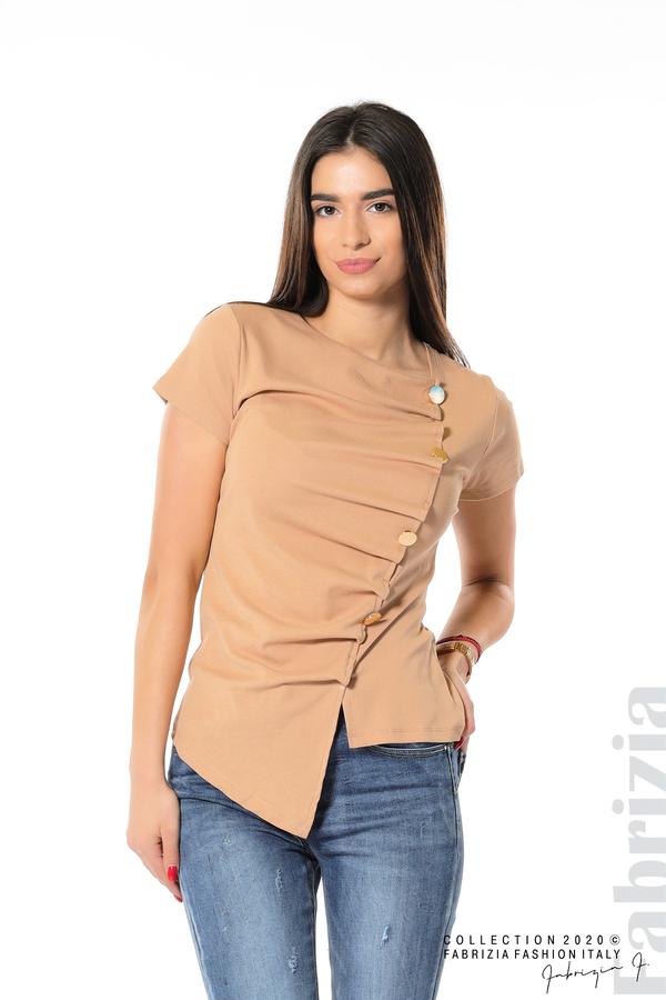 Асиметрична блуза с копчета св.кафяв 1 fabrizia