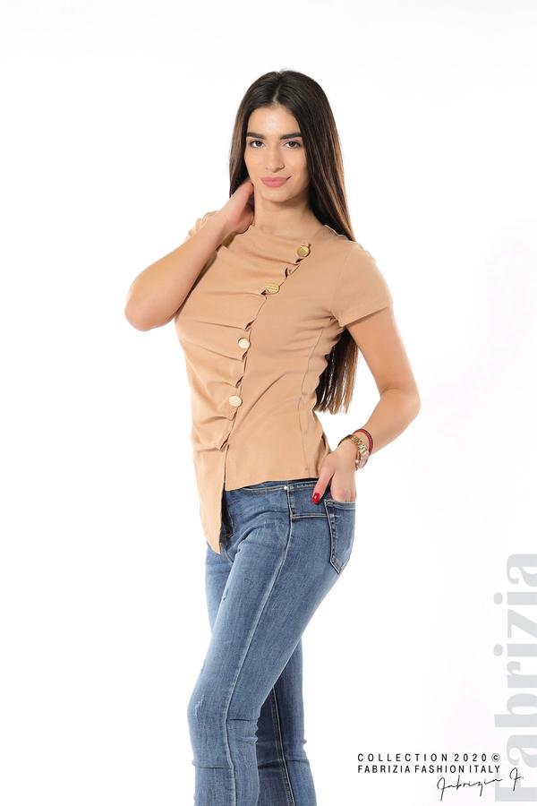 Асиметрична блуза с копчета св.кафяв 5 fabrizia