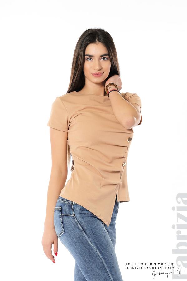 Асиметрична блуза с копчета св.кафяв 2 fabrizia