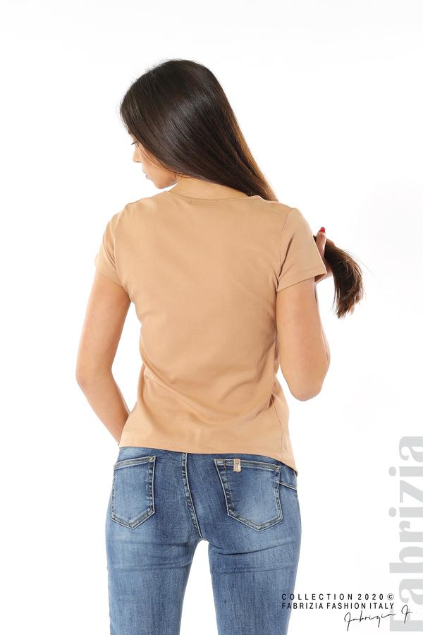 Асиметрична блуза с копчета св.кафяв 6 fabrizia
