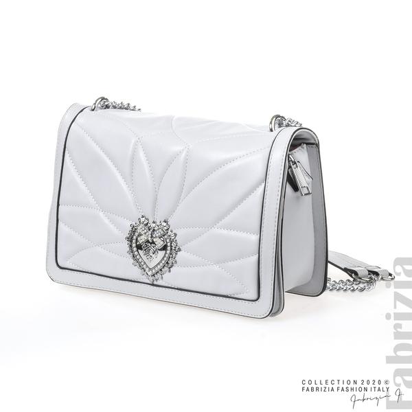 Дамска чанта с акцент на капака сив 1 fabrizia