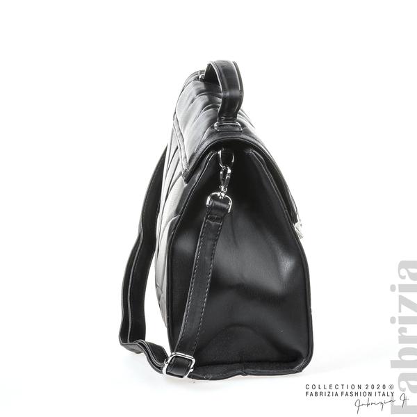 Чанта със сребристо сърце на капака черен 3 fabrizia
