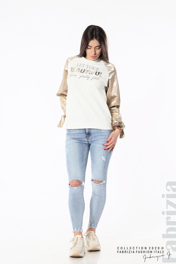 Блуза с надпис Beautiful екрю 3 fabrizia