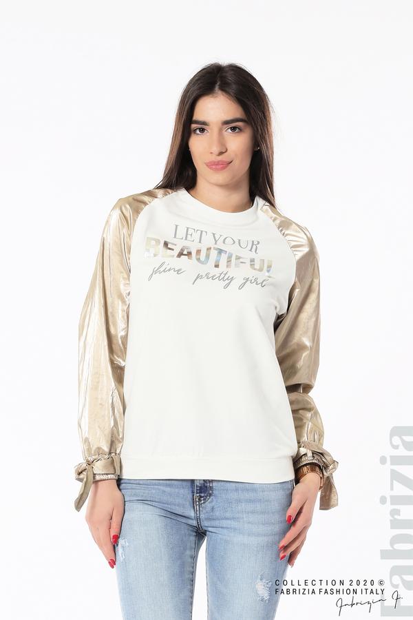 Блуза с надпис Beautiful екрю 1 fabrizia