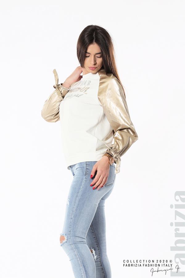 Блуза с надпис Beautiful екрю 4 fabrizia