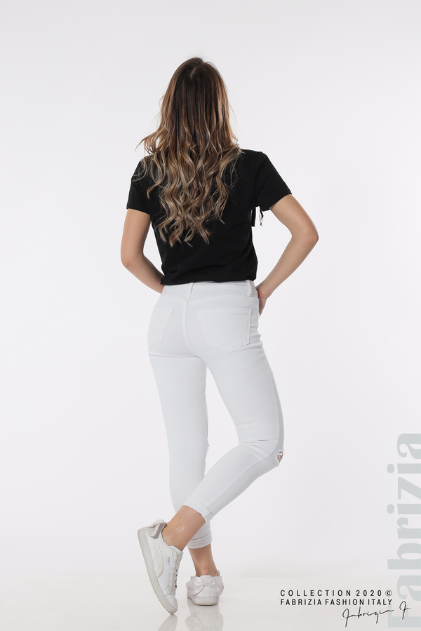 Едноцветни дънки със захабени части бял 4 fabrizia