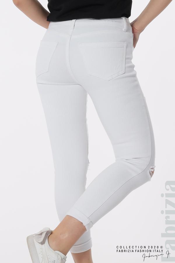 Едноцветни дънки със захабени части бял 5 fabrizia