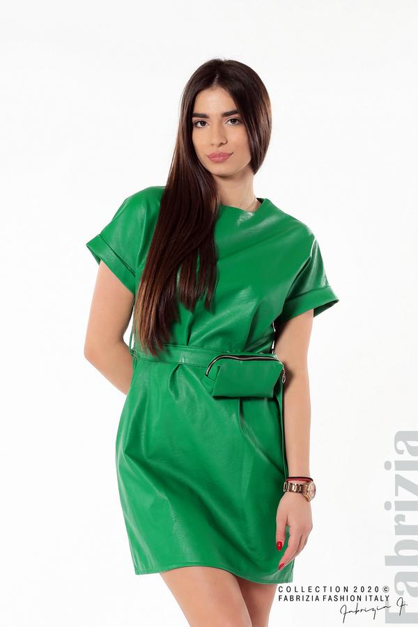 Рокля с колан и малка чантичка зелен 1 fabrizia