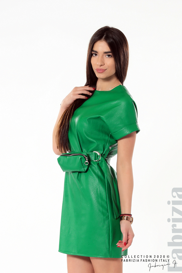 Рокля с колан и малка чантичка зелен 4 fabrizia
