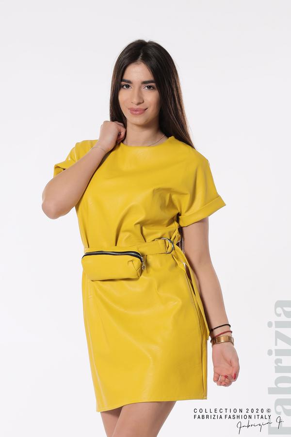 Рокля с колан и малка чантичка жълт 1 fabrizia