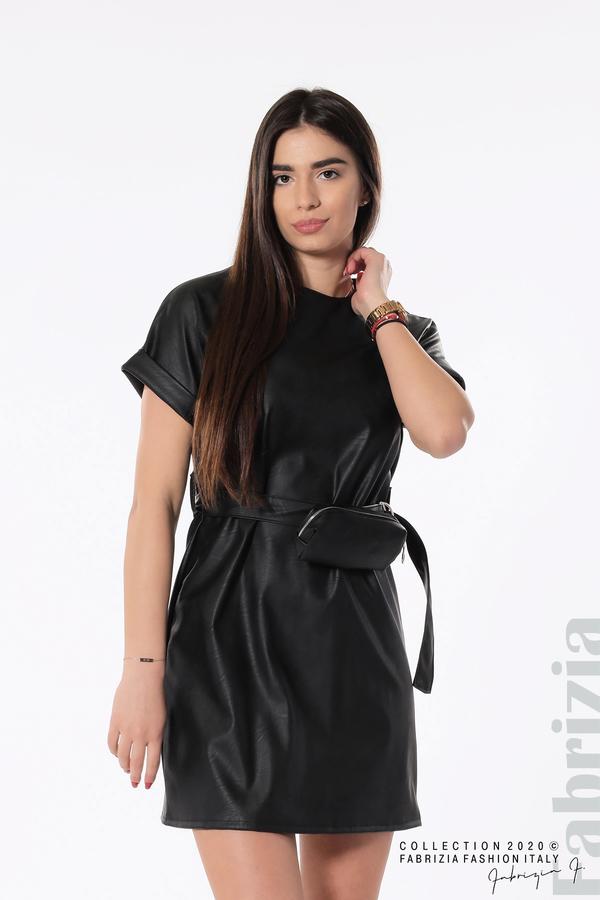 Рокля с колан и малка чантичка черен 1 fabrizia