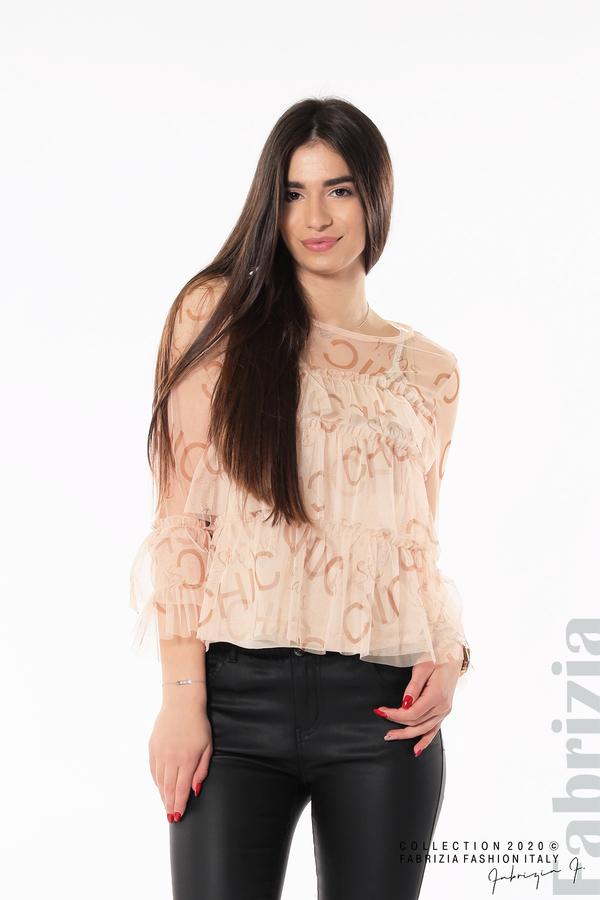 Ефирна блуза с волани пудра 1 fabrizia