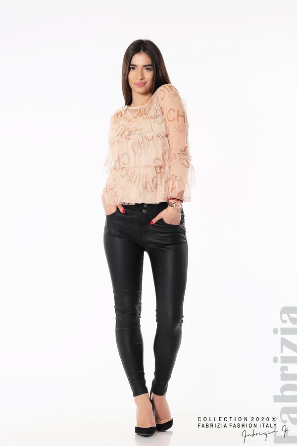 Ефирна блуза с волани пудра 4 fabrizia