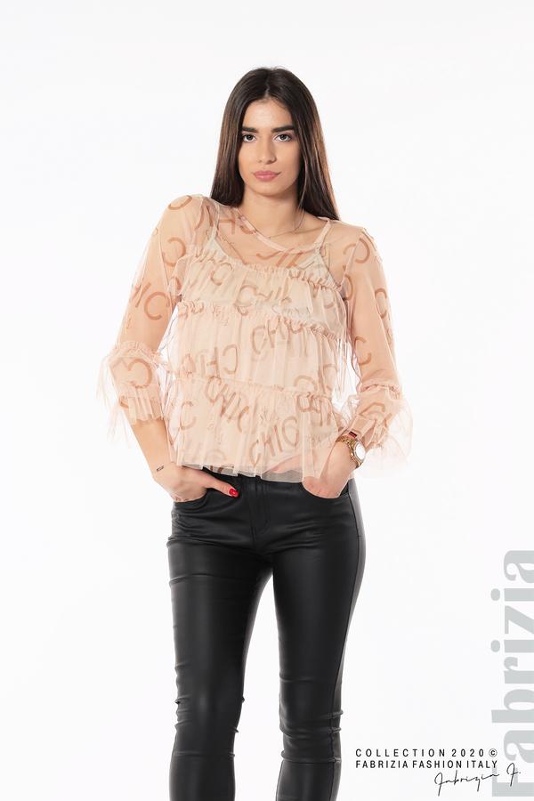Ефирна блуза с волани пудра 2 fabrizia