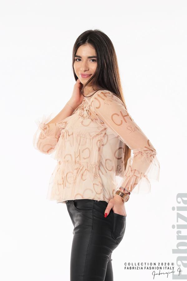 Ефирна блуза с волани пудра 3 fabrizia