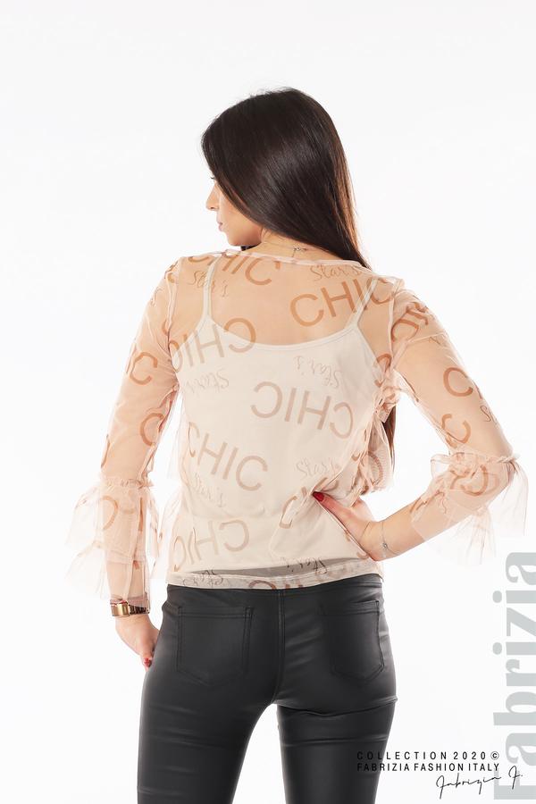 Ефирна блуза с волани пудра 6 fabrizia